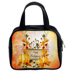 Happy Thanksgiving With Pumpkin Classic Handbags (2 Sides) by FantasyWorld7