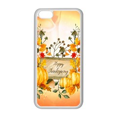 Happy Thanksgiving With Pumpkin Apple Iphone 5c Seamless Case (white) by FantasyWorld7
