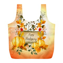 Happy Thanksgiving With Pumpkin Full Print Recycle Bags (l)  by FantasyWorld7