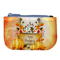 Happy Thanksgiving With Pumpkin Large Coin Purse by FantasyWorld7