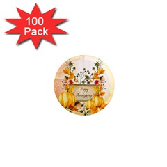 Happy Thanksgiving With Pumpkin 1  Mini Magnets (100 Pack)  by FantasyWorld7