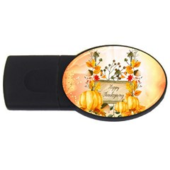 Happy Thanksgiving With Pumpkin Usb Flash Drive Oval (4 Gb) by FantasyWorld7