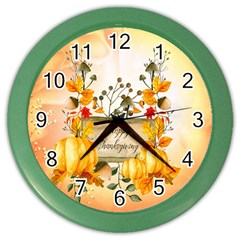 Happy Thanksgiving With Pumpkin Color Wall Clocks by FantasyWorld7