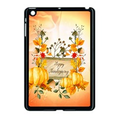 Happy Thanksgiving With Pumpkin Apple Ipad Mini Case (black) by FantasyWorld7