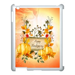 Happy Thanksgiving With Pumpkin Apple Ipad 3/4 Case (white) by FantasyWorld7