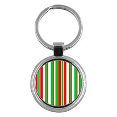 Christmas Holiday Stripes Red Key Chains (round)  by Celenk