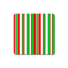 Christmas Holiday Stripes Red Square Magnet