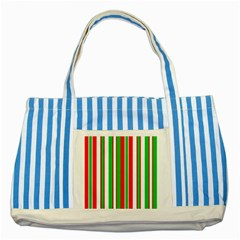 Christmas Holiday Stripes Red Striped Blue Tote Bag
