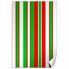 Christmas Holiday Stripes Red Canvas 24  X 36  by Celenk