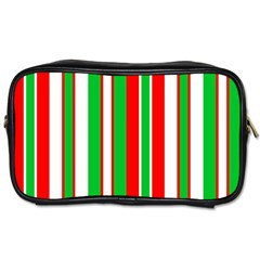 Christmas Holiday Stripes Red Toiletries Bags by Celenk