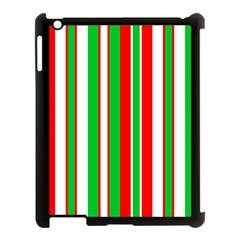 Christmas Holiday Stripes Red Apple Ipad 3/4 Case (black) by Celenk