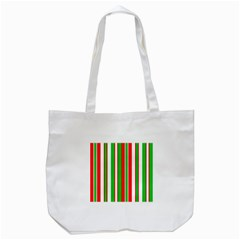 Christmas Holiday Stripes Red Tote Bag (white) by Celenk