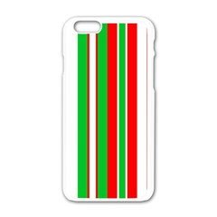 Christmas Holiday Stripes Red Apple Iphone 6/6s White Enamel Case by Celenk