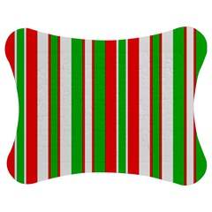 Christmas Holiday Stripes Red Jigsaw Puzzle Photo Stand (bow) by Celenk