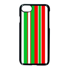 Christmas Holiday Stripes Red Apple Iphone 7 Seamless Case (black)