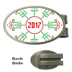Snowflake Graphics Date Year Money Clips (oval)  by Celenk