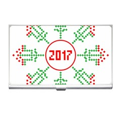 Snowflake Graphics Date Year Business Card Holders by Celenk