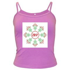 Snowflake Graphics Date Year Dark Spaghetti Tank by Celenk