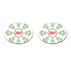 Snowflake Graphics Date Year Cufflinks (oval) by Celenk