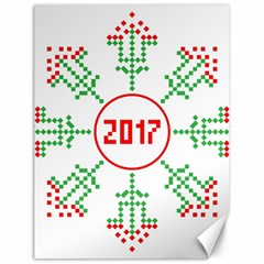 Snowflake Graphics Date Year Canvas 18  X 24   by Celenk