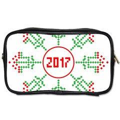 Snowflake Graphics Date Year Toiletries Bags by Celenk