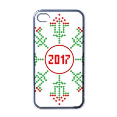 Snowflake Graphics Date Year Apple Iphone 4 Case (black) by Celenk