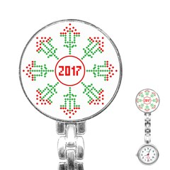 Snowflake Graphics Date Year Stainless Steel Nurses Watch by Celenk