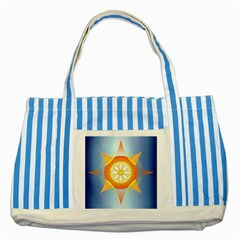 Star Pattern Background Striped Blue Tote Bag by Celenk