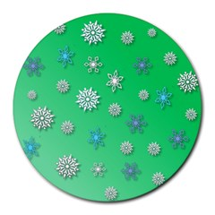 Snowflakes Winter Christmas Overlay Round Mousepads by Celenk