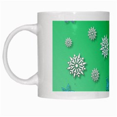 Snowflakes Winter Christmas Overlay White Mugs by Celenk