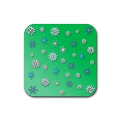 Snowflakes Winter Christmas Overlay Rubber Square Coaster (4 Pack)  by Celenk