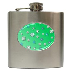 Snowflakes Winter Christmas Overlay Hip Flask (6 Oz) by Celenk