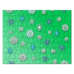 Snowflakes Winter Christmas Overlay Rectangular Jigsaw Puzzl by Celenk