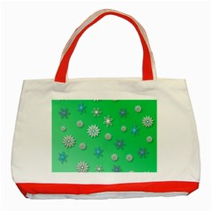 Snowflakes Winter Christmas Overlay Classic Tote Bag (red) by Celenk