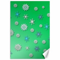 Snowflakes Winter Christmas Overlay Canvas 12  X 18   by Celenk