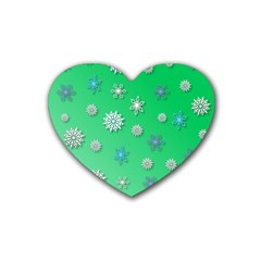Snowflakes Winter Christmas Overlay Rubber Coaster (heart)  by Celenk