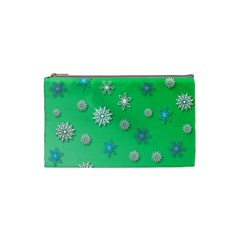 Snowflakes Winter Christmas Overlay Cosmetic Bag (small)  by Celenk