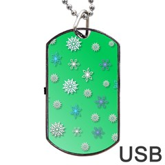 Snowflakes Winter Christmas Overlay Dog Tag Usb Flash (two Sides) by Celenk