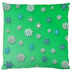Snowflakes Winter Christmas Overlay Large Cushion Case (one Side) by Celenk