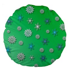 Snowflakes Winter Christmas Overlay Large 18  Premium Round Cushions by Celenk