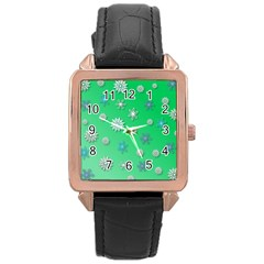Snowflakes Winter Christmas Overlay Rose Gold Leather Watch