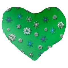 Snowflakes Winter Christmas Overlay Large 19  Premium Flano Heart Shape Cushions by Celenk