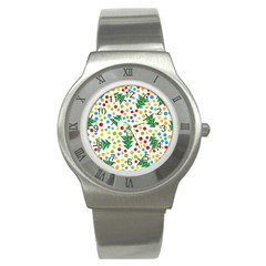 Pattern Circle Multi Color Stainless Steel Watch by Celenk