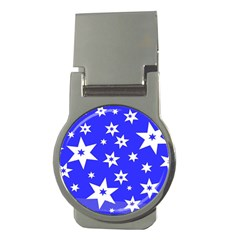 Star Background Pattern Advent Money Clips (round)  by Celenk