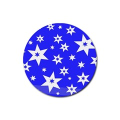 Star Background Pattern Advent Rubber Round Coaster (4 Pack)  by Celenk