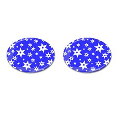 Star Background Pattern Advent Cufflinks (oval) by Celenk