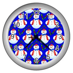 Seamless Repeat Repeating Pattern Wall Clocks (silver)