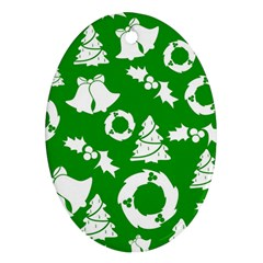 Green White Backdrop Background Card Christmas Ornament (oval) by Celenk