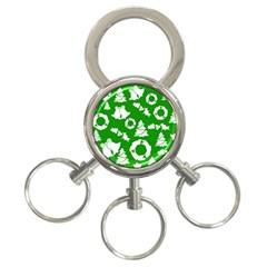 Green White Backdrop Background Card Christmas 3 Ring Key Chains by Celenk