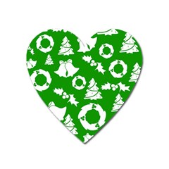 Green White Backdrop Background Card Christmas Heart Magnet by Celenk